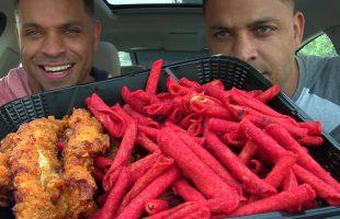 Hot Takis & KFC's® Nashville Hot Chicken Ghetto Challenge @hodgetwins